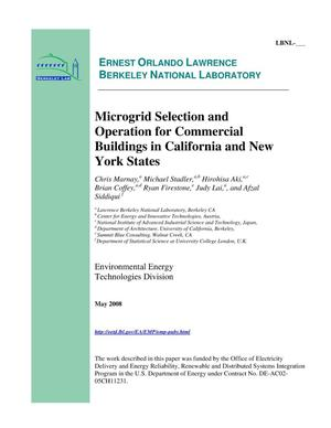 Primary view of object titled 'Microgrid Selection and Operation for Commercial Buildings in California and New York States'.
