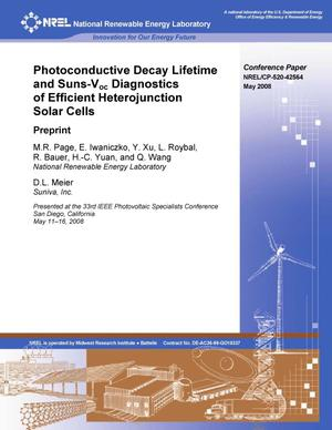 Primary view of object titled 'Photoconductive Decay Lifetime and Suns-Voc Diagnostics of Efficient Heterojunction Solar Cells: Preprint'.