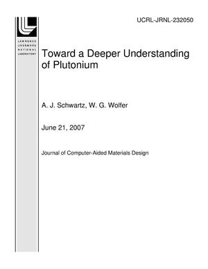 Primary view of object titled 'Toward a Deeper Understanding of Plutonium'.