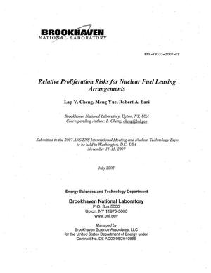 Primary view of object titled 'RELATIVE PROLIFERATION RISKS FOR NUCLEAR FUEL LEASING ARRANGEMENT'.