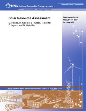 Primary view of object titled 'Solar Resource Assessment'.