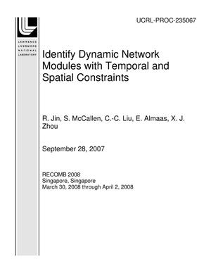 Primary view of object titled 'Identify Dynamic Network Modules with Temporal and Spatial Constraints'.