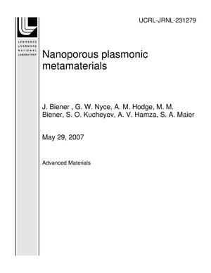 Primary view of object titled 'Nanoporous plasmonic metamaterials'.