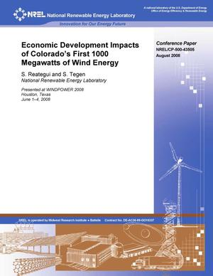 Primary view of object titled 'Economic Development Impacts of Colorado's First 1000 Megawatts of Wind Energy'.