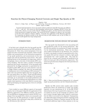 Primary view of object titled 'Searches for flavor-changing neutral currents and single top quarks at D0'.