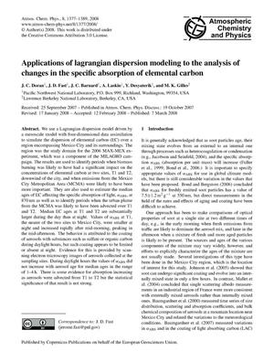 Primary view of object titled 'Applications of Lagrangian Dispersion Modeling to the Analysis of Changes in the Specific Absorption of Elemental Carbon'.