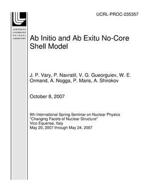 Primary view of object titled 'Ab Initio and Ab Exitu No-Core Shell Model'.