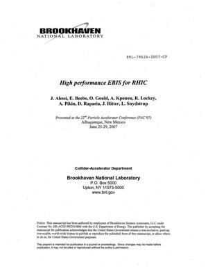 Primary view of object titled 'HIGH PERFORMANCE EBIS FOR RHIC.'.