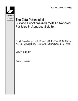 Primary view of object titled 'The Zeta Potential of Surface-Functionalized Metallic Nanorod Particles in Aqueous Solution'.
