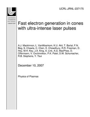 Primary view of object titled 'Fast Electron Generation in Cones with Ultra-Intense Laser Pulses'.