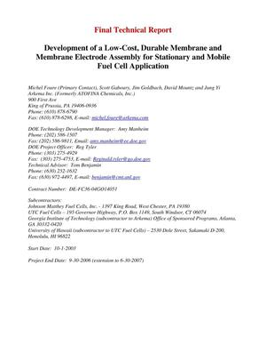 Primary view of object titled 'Development of a Low-Cost, Durable Membrane and MEA for Stationary and Mobile Fuel Cell Applications'.