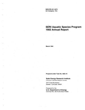 Primary view of object titled 'SERI Aquatic Species Program: 1983 Annual Report'.
