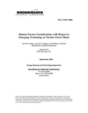 Primary view of object titled 'Human Factors Considerations in New Nuclear Power Plants: Detailed Analysis.'.