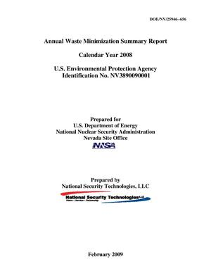 Primary view of object titled 'Annual Waste Minimization Summary Report, Calendar Year 2008'.
