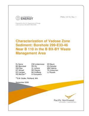 Primary view of object titled 'Characterization of Vadose Zone Sediment: Borehole 299-E33-46 Near B 110 in the B BX-BY Waste Management Area'.