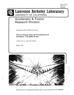 Primary view of object titled 'The Low-Energy State ofCirculating Stored Ion Beams: Crystalline Beams'.