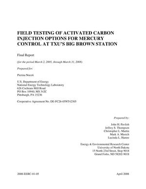 Primary view of object titled 'Field Testing of Activated Carbon Injection Options for Mercury Control at TXU's Big Brown Station'.