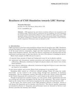 Primary view of object titled 'Readiness of CMS Simulation Towards LHC Startup'.