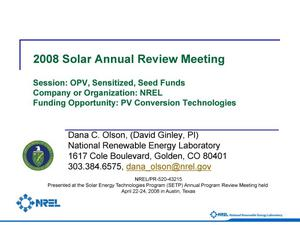 Primary view of object titled 'PV Conversion Technologies; Session: OPV, Sensitized, Seed Funds (Presentation)'.