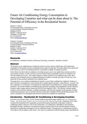 Primary view of object titled 'Future Air Conditioning Energy Consumption in Developing Countriesand what can be done about it: The Potential of Efficiency in theResidential Sector'.