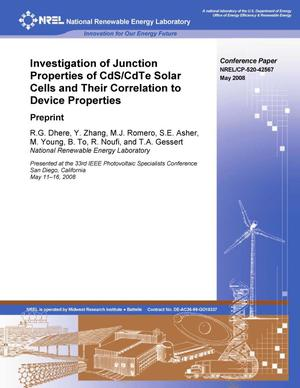 Primary view of object titled 'Investigation of Junction Properties in CdS/CdTe Solar Cells and Their Correlation to Device Properties: Preprint'.