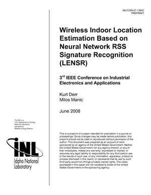 Primary view of object titled 'Wireless Indoor Location Estimation Based on Neural Network RSS Signature Recognition (LENSR)'.