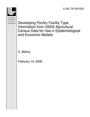 Primary view of object titled 'Developing Poultry Facility Type Information from USDA Agricultural Census Data for Use in Epidemiological and Economic Models'.