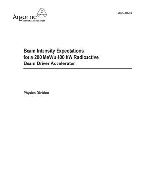 Primary view of object titled 'Beam intensity expectations for a 200 MeV/u 400 kW radioactive beam driver accelerator.'.
