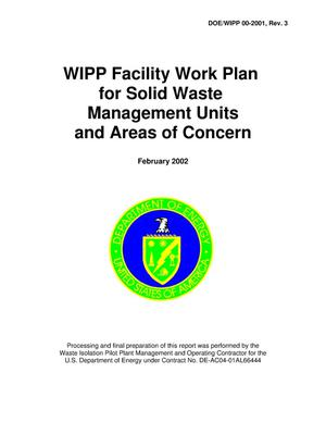 Primary view of object titled 'WIPP Facility Work Plan for Solid Waste Management Units and Areas of Concern'.