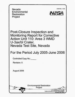 Primary view of object titled 'Post-Closure Inspection and Monitoring Report for Corrective Action Unit 110: Area 3 WMD U-3ax/bl Crater, Nevada Test Site, Nevada'.