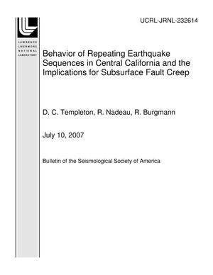Primary view of object titled 'Behavior of Repeating Earthquake Sequences in Central California and the Implications for Subsurface Fault Creep'.