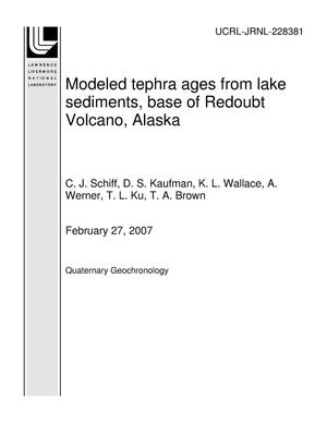 Primary view of object titled 'Modeled tephra ages from lake sediments, base of Redoubt Volcano, Alaska'.