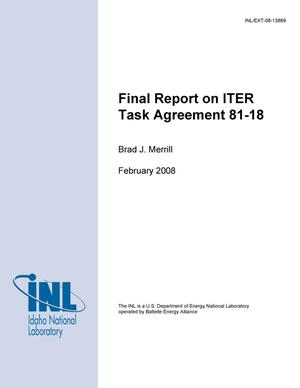 Primary view of object titled 'Final Report on ITER Task Agreement 81-18'.