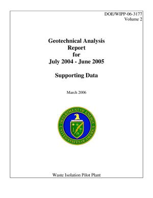 Primary view of object titled 'Geotechnical Analysis Report for July 2004 - June 2005, Volume 2, Supporting Data'.