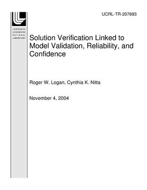 Primary view of object titled 'Solution Verification Linked to Model Validation, Reliability, and Confidence'.