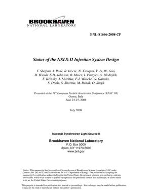 Primary view of object titled 'Status of the NSLS-II Injection System Design'.