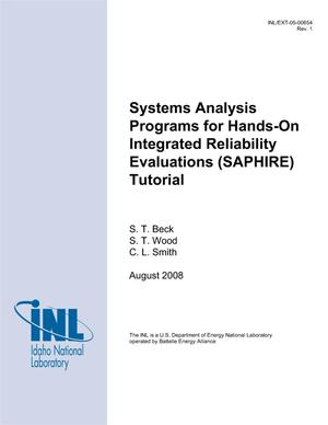 Primary view of object titled 'Systems Analysis Programs for Hands-on Integrated Reliability Evaluations (SAPHIRE) Tutorial'.