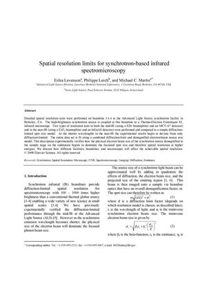 Primary view of object titled 'Spatial resolution limits for synchrotron-based infrared spectromicroscopy'.