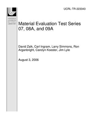 Primary view of object titled 'Material Evaluation Test Series 07, 08A, and 09A'.