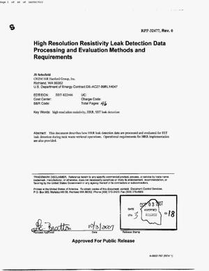Primary view of object titled 'HIGH RESOLUTION RESISTIVITY LEAK DETECTION DATA PROCESSING & EVALUATION MEHTODS & REQUIREMENTS'.