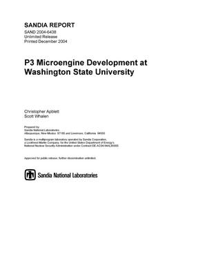 Primary view of object titled 'P3 microengine development at Washington State University.'.
