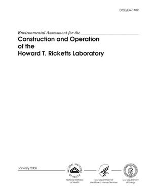 Primary view of object titled 'Construction and operation of the Howard T. Ricketts Laboratory.'.