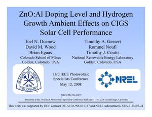 Primary view of object titled 'ZnO:Al Doping Level and Hydrogen Growth Ambient Effects on CIGS Solar Cell Performance (Presentation)'.
