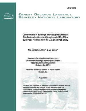 Primary view of object titled 'Contaminants in Buildings and Occupied Spaces as Risk Factors forOccupant Symptoms in U.S. Office Buildings: Findings from the U.S. EPABASE Study'.