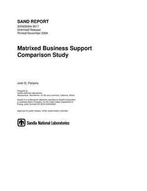 Primary view of object titled 'Matrixed business support comparison study.'.