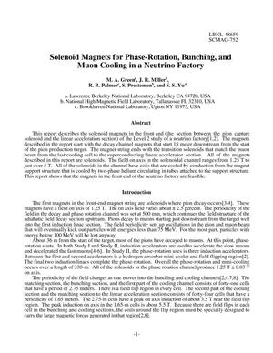 Primary view of object titled 'Solenoid magnets for phase-rotation, bunching, and muon cooling ina neutrino factory'.