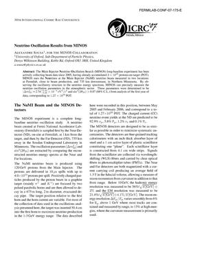 Primary view of object titled 'Neutrino oscillation results from MINOS'.