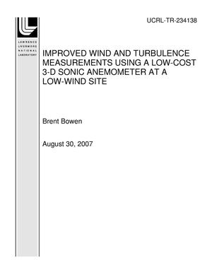 Primary view of object titled 'IMPROVED WIND AND TURBULENCE MEASUREMENTS USING A LOW-COST 3-D SONIC ANEMOMETER AT A LOW-WIND SITE'.
