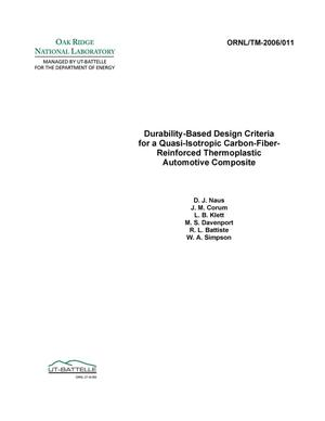 Primary view of object titled 'Durability-Based Design Criteria for a Quasi-Isotropic Carbon-Fiber-Reinforced Thermoplastic Automotive Composite'.