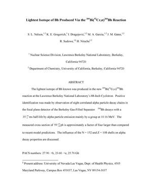 Primary view of object titled 'Lightest Isotope of Bh Produced Via the 209Bi(52Cr,n)260BhReaction'.
